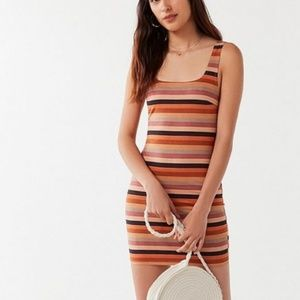 UO Striped Faux Suede Mini Dress